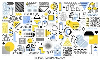 vindima, anúncio, bandeira, shapes., vetorial, halftone, trendy, cartaz, desenho, elementos, comercial, billboard, teia, formas, sale., jogo, folheto, cobrança, geomã©´ricas, retro