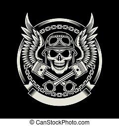 vindima, biker, asas, cranio
