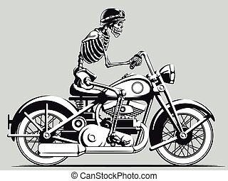 vindima, biker, vetorial, esqueleto, silho