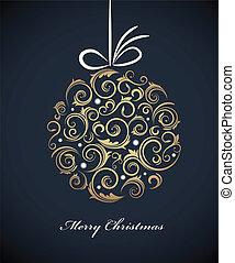 vindima, bola, retro, ornamentos, natal