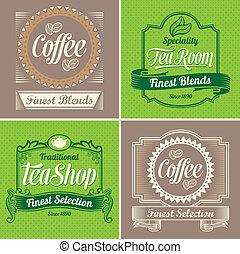 vindima, café, etiquetas, chá