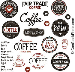 vindima, café, etiquetas, lettering
