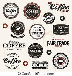 vindima, café, etiquetas