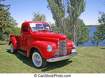 vindima, caminhão, vermelho