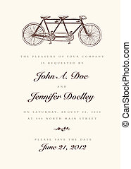 vindima, casório, vetorial, bicicleta, convite
