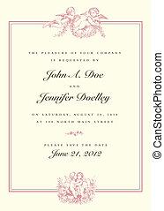 vindima, casório, vetorial, cupid, convite