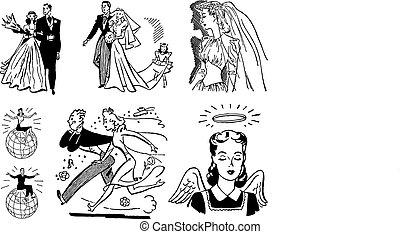 vindima, casório, vetorial, gráficos