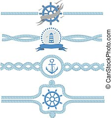 vindima, divisores, ilustração, corda, borders., vetorial, desenho, náutico, quadro