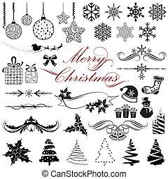 vindima, elementos, desenho, natal