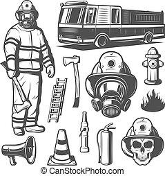 vindima, elementos, jogo, firefighting