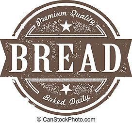 vindima, etiqueta, assado, pão fresco