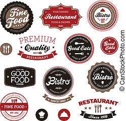 vindima, etiquetas, restaurante