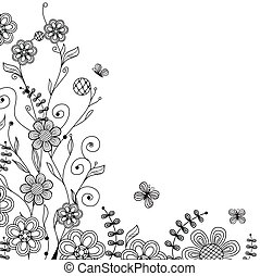 vindima, floral, borboletas, handdrawn, flores, cartão