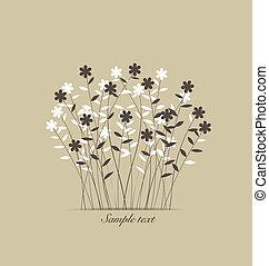 vindima, flowers., vetorial, illustration.