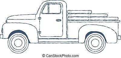 vindima, isolado, experiência., pickup, vetorial, caminhão, retro, branca