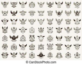 vindima, jogo, cobrança, grande, emblems., estilo, heraldic, emblemas, elementos, antigüidade, desenho, heráldica, vetorial, família, recompensas, simbólico, emblemas, clássicas