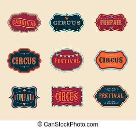vindima, jogo, etiquetas, circo