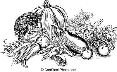 vindima, legumes, retro, woodcut