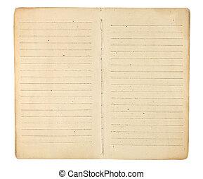 vindima, memorando, livro, em branco, abertos, páginas