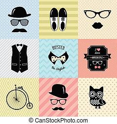 vindima, moda, hipster, fundo, cute