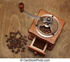 vindima, moedor café, feijões