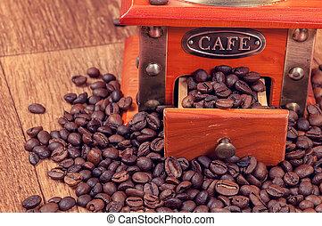 vindima, moedor café, feijões, manual