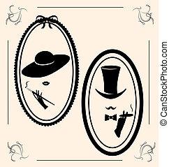 vindima, mulher, chapéu