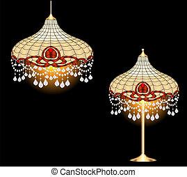 vindima, pendentes, cristal, lâmpada, lustre, tabela