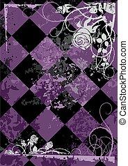 vindima, quadro, quadrado, rosas, fundo, violeta