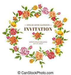 vindima, quadro, -, rosas, vetorial, cartão