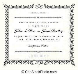 vindima, quadro, vetorial, convite casamento