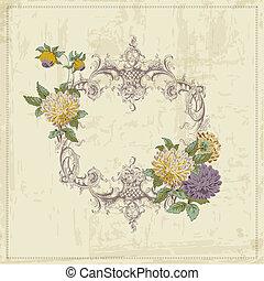 vindima, quadro, -, vetorial, lugar, retro, texto, flores, seu, cartão