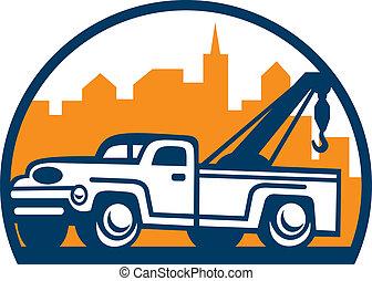 vindima, retro, wrecker, caminhão, reboque