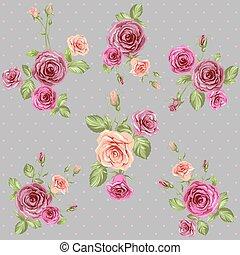 vindima, rosas, padrão