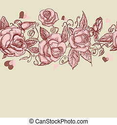 vindima, rosas, seamless, padrão