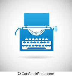 vindima, símbolo, criatividade, ilustração, vetorial, desenho, retro, modelo, ícone, máquina escrever