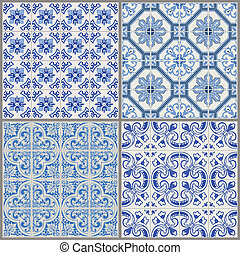 vindima, -, seamless, cobrança, vitoriano, vetorial, fundo, azulejo