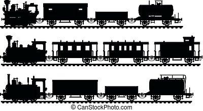 vindima, silhuetas, pretas, vapor, trens
