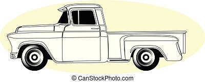 vindima, silueta, -, pick-up, americano, caminhão, retro, pickup, vista lateral