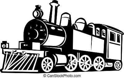 vindima, trem, pretas, feito, branca, vapor