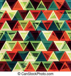 vindima, triangulo, seamless, padrão