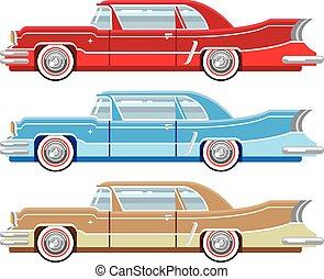 vindima, vetorial, clássicas, automóvel