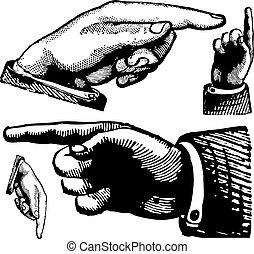 vindima, vetorial, dedos, apontar