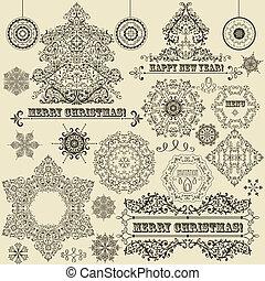 vindima, vetorial, desenho, natal, elementos