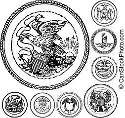 vindima, vetorial, jogo, selos