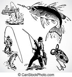vindima, vetorial, pesca, gráficos