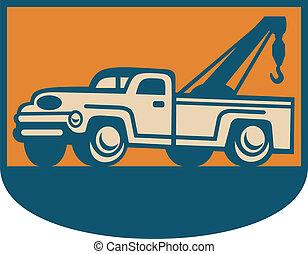 vindima, wrecker, caminhão, reboque, pick-up