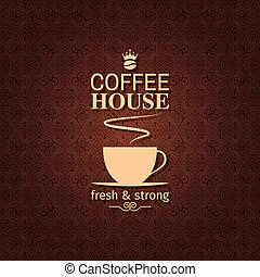 vindima, xícara café, desenho, backgroun