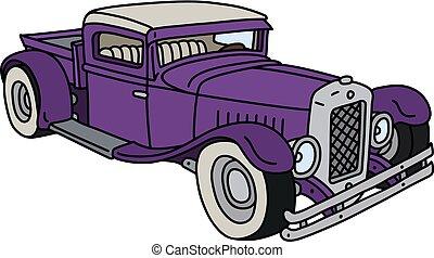 violeta, hotrod, engraçado