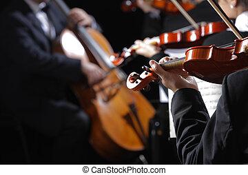 violinists, music., concerto, clássico